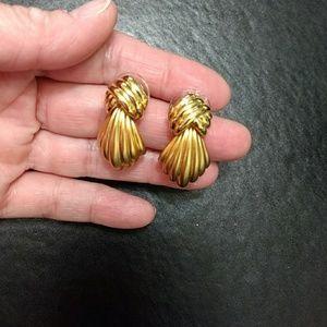Monet gold tone earrings